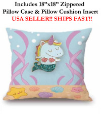"18x18 18"" CUTE BABY GIRL SEA MERMAID UNICORN RAINBOW Zipper Throw Pillow Cushion"