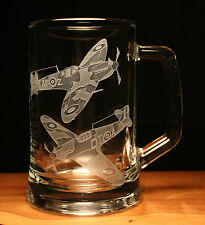 Spitfire Hurricane Ww2 Aeroplane Aircraft Engraved Glass Tankard Gift Present