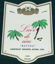 LICOR DE COCO old Beverage label drink VICTORIA factory coconut