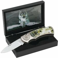 MAXAM Lockback Folding Knife with Decorative Wolf Inlay - GIFT/DISPLAY Boxed