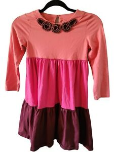 Hanna Andersson Girl's 130 US 8 Tiered Pink Felt Flower Accent Dress Casual