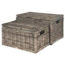 Large Grey Rectangle Wicker Storage Chest With Lid