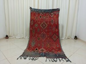 Tribal Handmade Vintage Moroccan Rug 3'2''x6' Geometric Red Berber Wool Carpet
