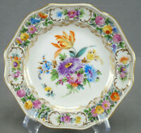 Carl Thieme Dresden Hand Painted Reticulated Floral & Gold Bread Plate C