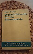 Werkstoffkunde für die Bauindustrie, Hans Backe, DDR