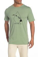Volcom Men's L Large Short Sleeve T-Shirt Hawaii Pin Line Chain Dusty Green