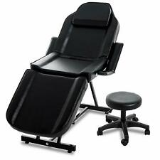 Tattoo Massage Table & Stool Salon Bed Beauty Barber Chair Adjustable Hydraulic