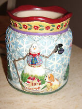 JIM SHORE CANDLE TART warmer BURNER ELECTRIC SNOWMAN CHRISTMAS HOLIDAY