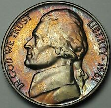 1961-P JEFFERSON NICKEL PROOF RED BLUE GEM COLOR TONED UNC BU FLAWLESS RARE (DR)
