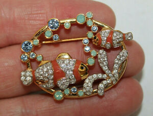 SWAROVSKI Crystal Clown Fish Brooch Pin Signed Gold Tone