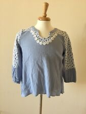 NWT Women's Marc New York Andrew Marc Blue White Embroidered Shirt Sz PL