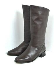 MARKON BROWN GENUINE LEATHER WOMEN BOOTS SIZE 10 M FLAT EXTRA WIDE CALF