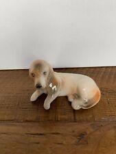 "Vintage Laying Basset Hound Dog Porcelain Figurine 3"" long"