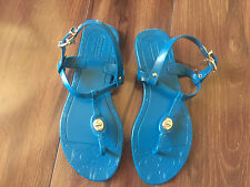 NEW ladies COACH SANDALS strappy TEAL BLUE shoes THONG gold LOGO size SIZE 5 B