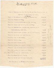 1884 Portland Maine Fourth of July Celebration Expense Tally Sheet