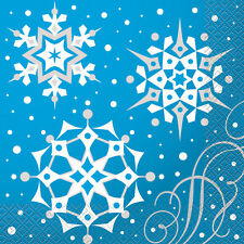 8 x Blue & Silver Snowflakes Christmas Paper Party Napkins Luncheon Size 33cm