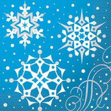 8X Azul y Plata Copos de Nieve Navidad Servilletas Papel Fiesta para Almuerzos