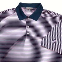 PETER MILLAR SUMMER COMFORT MENS SHORT SLEEVE BLUE PINK STRIPE GOLF POLO SHIRT L