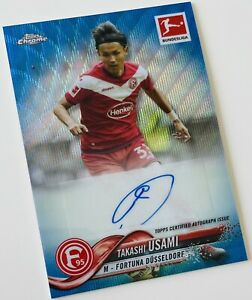 2018-19 Topps Chrome Bundesliga -  Usami Blue Wave Autograph #/75 - Düsseldorf