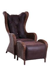 Oreilles fauteuil en rotin alcantara pieds nature Rotin Fauteuil en Rotin Fauteuil Tissu