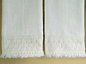 COTTON LACE Fingertip Towels (2) WHITE Cluny Lace Velour Cotton NEW by UtaLace