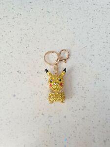 Pokemon Pikachu Keyring Diamante Rhinestone Charm Ladies Bling Handbag