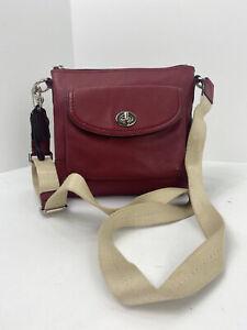 Coach Crossbody Swing pack Bag Park Turn lock Pebbled Red Leather F49170 B3L