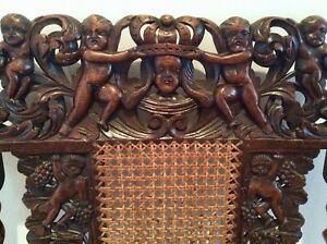 Mid 19th Century Walnut Carved Carolean Throne chair. 17th C. design
