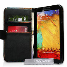 Best Quality Protective PU Leather Wallet Case for Samsung Galaxy Note 3 Black