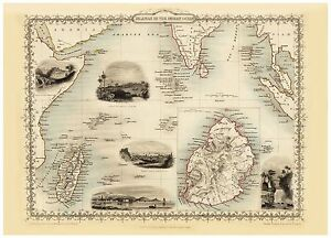 Old Vintage Map Islands in the Indian Ocean richly illustrated Tallis 1851