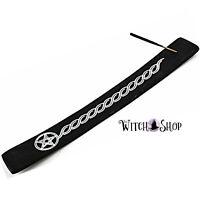 Black Pentagram Stick Incense Wooden Holder Burner Wicca Pagan Witch Ash Catcher