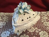 ITALY White Porcelain 3 Footed Bowl With Scrollwork Cutouts, Lid w/Blue Flowers