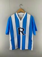 Rowville Mens Blue White Striped Polyester Short Sleeves Soccer Jersey Size XL