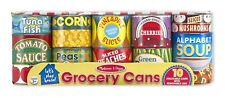 NEW10 PC MELISSA & DOUG GROCERY CANS PLAY FOOD CANS STACKABLE REMOVABLE LIDS
