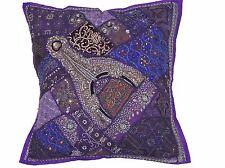 "Purple Luxury Sari Floor Pillow Cover - Beaded Patchwork Ethnic Euro Sham 26"""