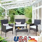 Patio Furniture Set Outdoor Garden Rattan Pe Cushion Sofa Chairs Tea Table 4pcs