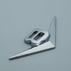 Silver Metal Chrome Glossy 8V V8 Sport Emblem Turbo Engine 3D Logo Badge Sticker