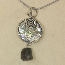 """Angie Olami Sterling Silver 18"""" Chain with Ancient Roman Glass Pendant"""