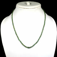 """Top Natural Zambian Emerald Necklace 18"""" Faceted Beads 925 Sterling Silver Clasp"""