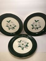 3 TAYLOR SMITH USA DOGWOOD FLOWER DESIGN  DINNER PLATES 10'' GREEN BORDER PLATES