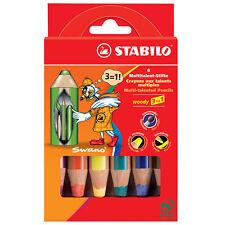 STABILO WOODY 3 IN 1 SUPER JUMBO MATITE wallet di 6 colori assortiti