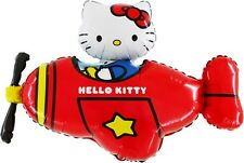 """37"""" Hello Kitty In Red Helicopter Foil Balloon - Inflate With Air/Helium (CS82)"""