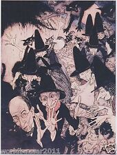 ARTHUR RACKHAM AS I WAS GOING TO ST. IVES WITCH BLACK CAT MAGIC  MOUNTED PRINT