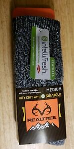 2 Pair REALTREE DRY FIT with SILVADUR SOCKS size Medium color Grey USA made