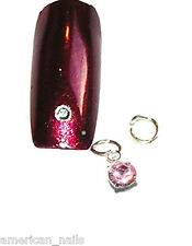Piercing bijoux d'Ongle Strass SWAROVSKI Rose Argenté 4 mm Nail Art