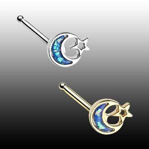Golden Opal Crescent Moon Star Nose Stud Bone Ring 20g 7mm Silver Blue Sexy Fun