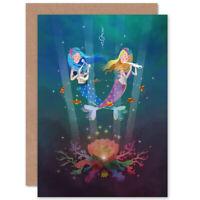 Mermaids Kids Music Blank Greeting Card With Envelope