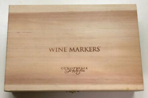 Merlot Plastic Wine Markers W/ Labels & Wood Box Set Of 48 Pre Owned Oenophilia