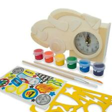 Race Car Clock Unfinished Wooden Craft Kit