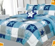Comforter Boys Kids 6 piece Blue Happy Star Bed In A Bag Flat Fitted Sheets Twin